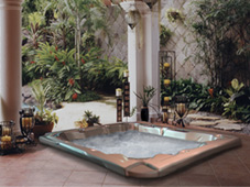 Гидромассажный бассейн спа Wayfarer. Заглублённая установка в зимнем саду.